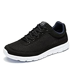 NDB Men's Casual Lightweight Lace-Up Fashion Sneakers Breathable Athletic Walking Shoes (6.5 D(M) US, Black)