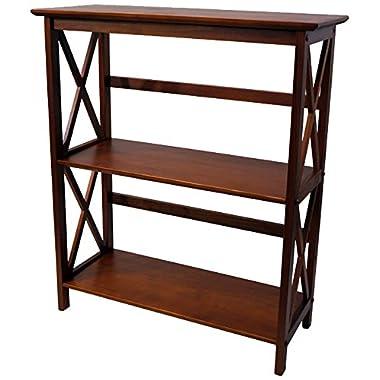 Casual Home 324-34 Montego 3-Tier Bookcase, Walnut