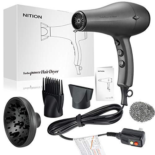 NITION Durable AC Motor Ceramic Salon Hair Dryer with Diffuser,Comb & Nozzle Attachments,1875 Watt Negative Ions Ionic Blow Dryer for Quick Drying,3 Heat & 2 Speed Settings,Cool Shot Button,Black
