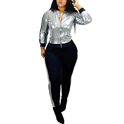 2 Piece Night Clubwear Outfits for Women Long Sleeve Top and Metallic Shiny Pants Glitter Clubwear at Women's Clothing store