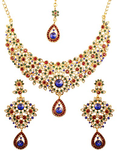 - Touchstone Hollywood Glamour White Red Green Blue Colors Crystals Grand Designer Wedding Jewelry Hasli Necklace Set for Women in Antique Gold Tone.