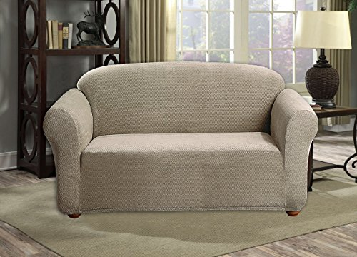 Quick Fit Hayden Velvet Furniture Protector Slipcover, LOVESEAT, Taupe