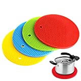 Yafeco Set of 4 Multipurpose Round Silicone Pot Holders - Non Slip Flexible Heat Resistant Table Mats, Trivets, Coaster, Placemat, Jar Openers, & Spoon Rests for Home & Kitchen Use