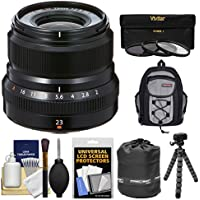 Fujifilm 23mm f/2.0 XF R WR Lens (Black) with 3 UV/CPL/ND8 Filters + Case + Flex Tripod + Pouch + Kit
