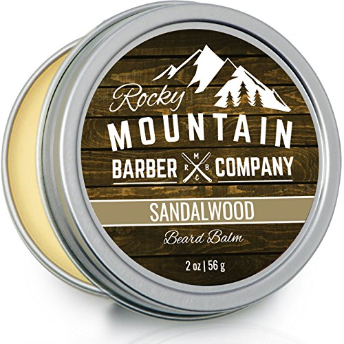 Beard Balm – Sandalwood Blend - Rocky Mountain Barber – with Nutrient Rich Bees Wax, Jojoba, Shea Butter, Coconut Oil – Contains Real Sandalwood Essential ()