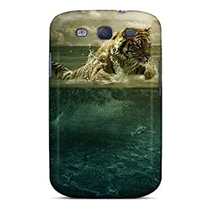 Durable Defender Case For Galaxy S3 Tpu Cover(tiger Leap In The Water)