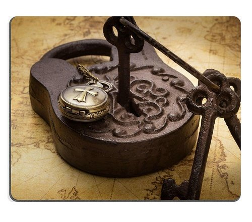 Natural Rubber Mousepad Vintage old rusty padlock with keys and pocketwatch on ancient map still life Stain Resistance Kit Kitchen Table Top Desk Collecto (Still Life Unknown)