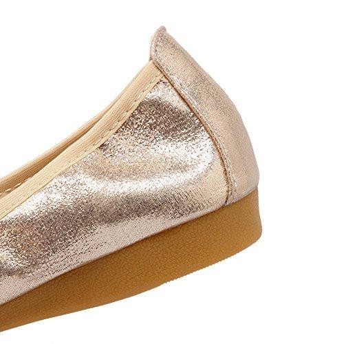 Meeshine Damen Faltbare weiche Spitzschuh Ballerinas Strass Komfort Slip auf flache Schuhe Gold