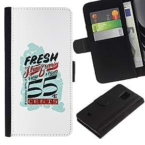 LASTONE PHONE CASE / Lujo Billetera de Cuero Caso del tirón Titular de la tarjeta Flip Carcasa Funda para Samsung Galaxy S5 Mini, SM-G800, NOT S5 REGULAR! / Fresh Vintage Retro White Blue Cents