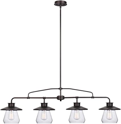 Globe Electric 65382 Nate 4 Light Pendant Oil Rubbed Bronze Clear Glass Shades Amazon Com