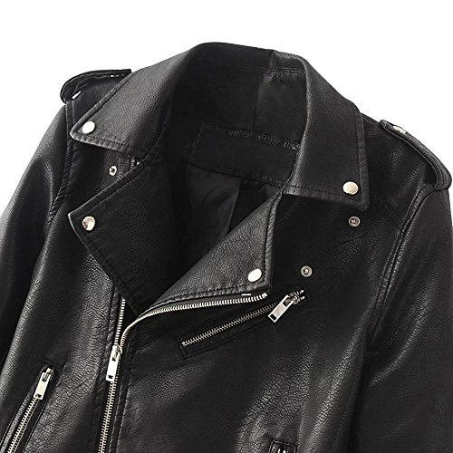 Cremalleras Asimétricas Mujeres con Biker de Faux Cuero Jacket Beauty7 de para de PU Motorista Abrigo Outwear Negro Cierre Chaqueta Corto xqC8nzw1P