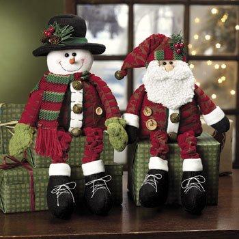Dangle-Leg Santa & Snowman - Party Decorations & Room Decor (Sitters Shelf Christmas)