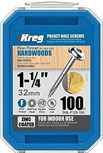 Kreg SML-F125-100 1-1/4-Inch 7-Fine Washer-Head Pocket Screws, 100-Count