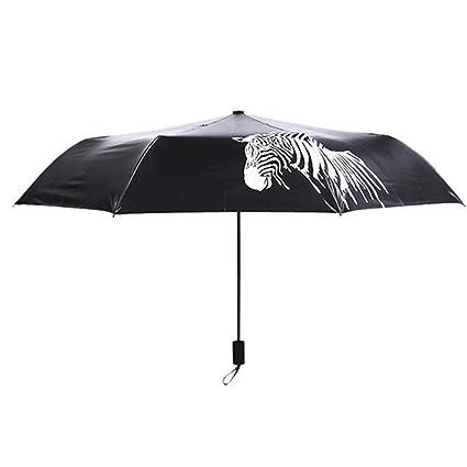 Pyrus cebra plegable paraguas que cambia de color paraguas de la lluvia a prueba de viento