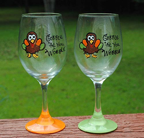 2 Orange and Green Gobble Til You Wobble Turkey Hand Painted Wine Glasses