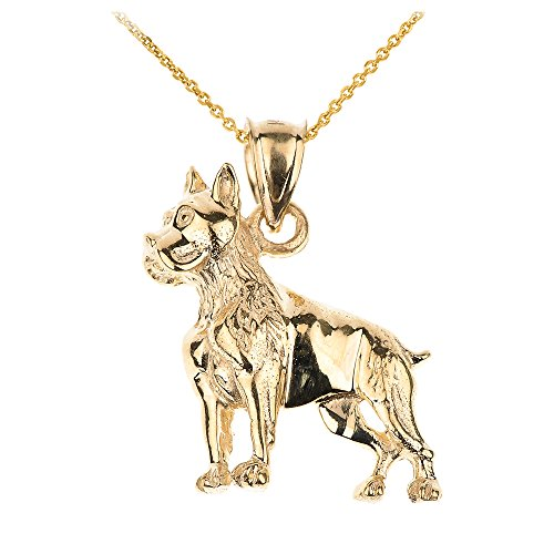Polished 14k Yellow Gold Boxer Dog Charm Pendant Necklace, 22