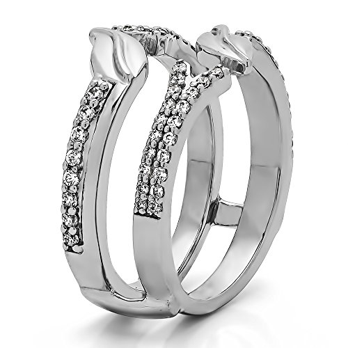 TwoBirch Yellow Plated Sterling Silver Open Ended Double Leaf Wedding Ring Guard with Cubic Zirconia (0.33 ct. tw.) by TwoBirch (Image #1)