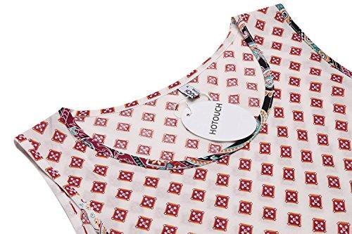 Bohemien Donkap Red Boho Epoca Stampato Femminile Casuale Vestito sleeveless Tunica Abito 1 Sciolto Vino 1FwqFx56