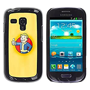 CASEX Cases / Samsung Galaxy S3 MINI NOT REGULAR! I8190 I8190N / Vault Boy Poster # / Delgado Negro Plástico caso cubierta Shell Armor Funda Case Cover Slim Armor Defender