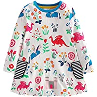 Fiream Girls Cotton Casual Longsleeve Unicorn Cartoon Dresses