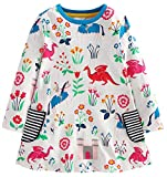 Fiream Girls Cotton Casual Longsleeve Cartoon Stripe Dresses(S0102,2T/2-3YRS)