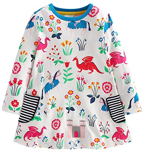 Fiream Girls Cotton Casual Longsleeve Cartoon Stripe Dresses(S0102,7T/7-8YRS) -