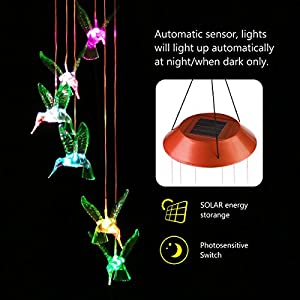 YUNLIGHTS LED Solar Wind Chimes, Changing Color Hummingbird Lamp Automatic Sensor Garden Spinner Lights for Home Party Decorations