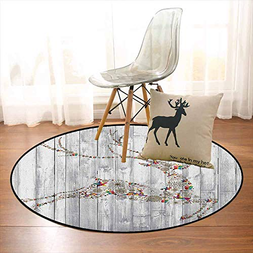 Deer Non-Slip Absorbent Carpet Colorful Animal Silhouette with Various Artistic Christmas Elements Wooden Planks Better underfoot Protection D59 Inch Grey Multicolor