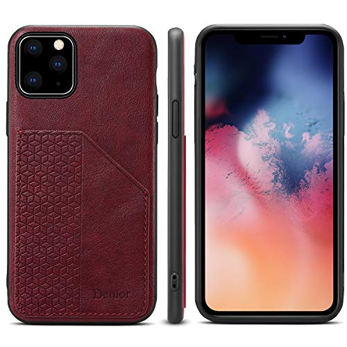 Cover Case for iPhone 11 pro Plus Leather Case | Ultra Slim | Lightweight | Wireless Charging | Card Slot |Scratch Resistant | 6.5inch Fit for Apple iPhone 11 pro Plus-Red