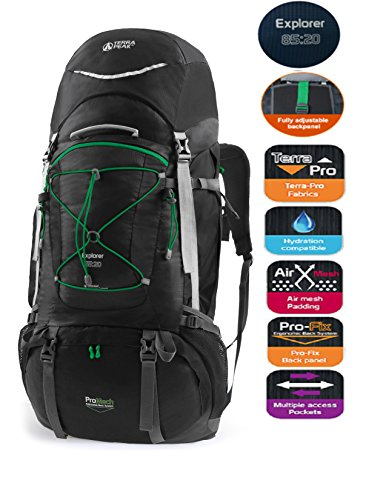 TERRA PEAK Adjustable Hiking Backpack 85L+20L for Men Women With Free Rain Cover Included Black by TERRA PEAK