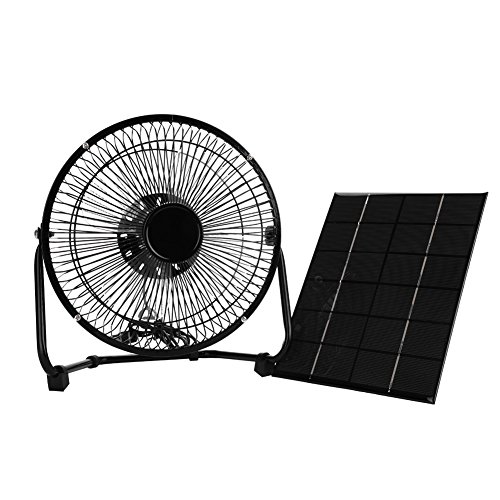 Classical Panel - VGEBY1 Iron Cooling Fan, Classical Black USB 8 inch 5.2 W 6 V Iron Cooling Fan with Solar Panel for Outdoor Traveling
