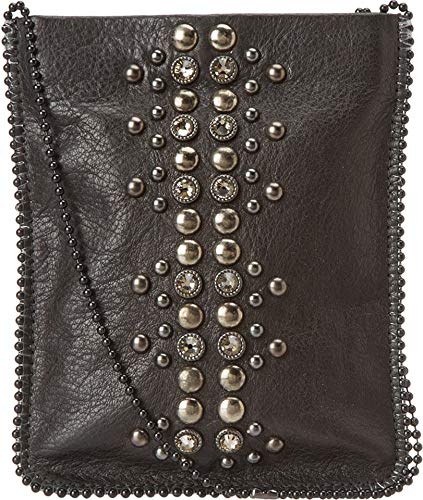 Black Grey Cell Womens Hemonite Crossbody Pouch Leatherock IWpgwPqw