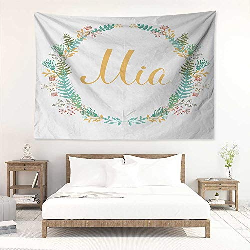 alisos Mia,Picnic Blanket Wall Frame of Flowers and Ferns Pattern with Handwriting Calligraphy Design Cursive Alphabet 80W x 60L Inch Printed Nature Wall Tapestry Multicolor