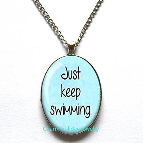 Charm holiday jewelry Just Keep Swimming Necklace, Funny Pendant,Unique Gifts, Silver Pendant, Sperm, Inspirational, Funny Gift,Religious Gift,Inspirational Quote