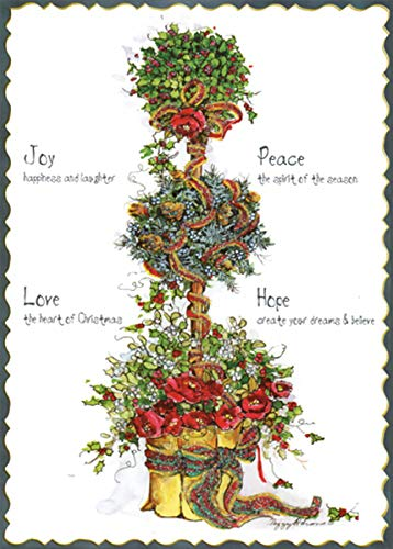 Flowers and Holly Topiary Tree : Peggy Abrams Pop Out 3-D LPG Greetings Christmas Card (Card Topiary)