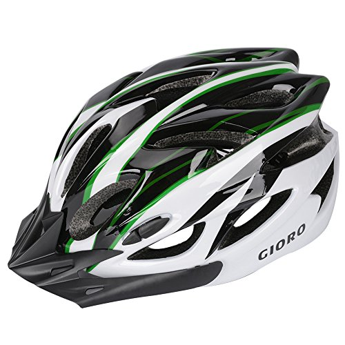 Bike Helmet Strap (GIORO Ultralight Adult Cycling Bike Helmet for Men Women Specialized Road Urban Mountain Bicycle Safety Protection Certified with Removable Visor and Quick Release Adjustable Strap (Green & White))