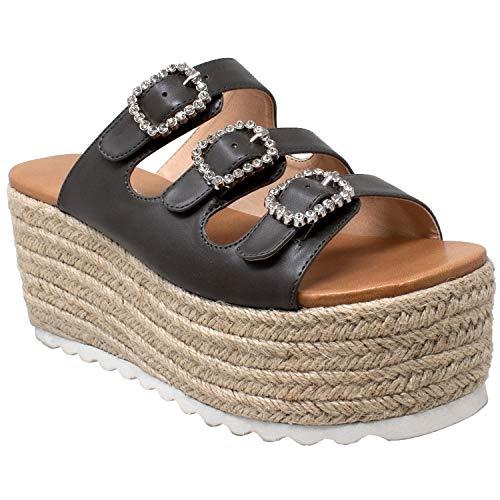 - SOBEYO Womens Platform Sandals Wedge Flatform Slip On Rhinestone Accent Espadrilles Gray SZ 7