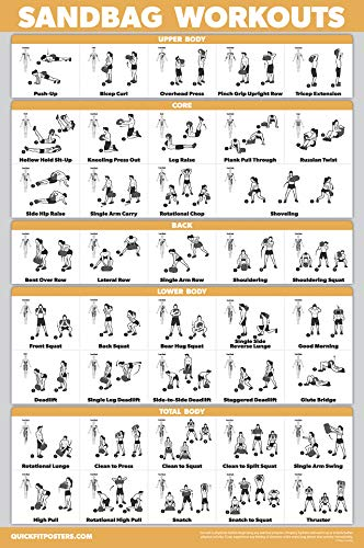 (QuickFit Sandbag Exercise Workout Poster - Laminated - Sand Bag Training Chart - 18