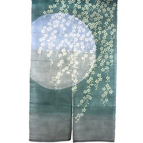 NeoConcept Plate Printed Japanese Sakura Noren Linen Doorway Curtain 59