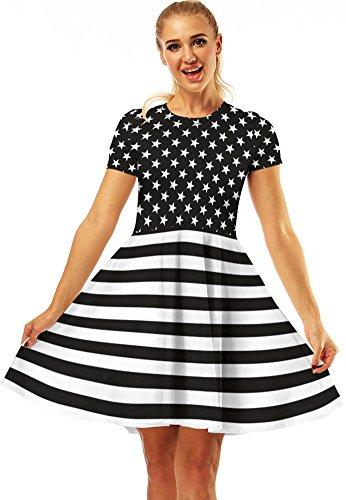 Flared Dresses Women's 05 Pleated ABCHIC Tshirt Multicoloured Mini BdXxwEqzE