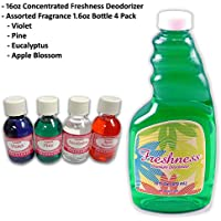 Freshness Premium Concentrated Vacuum Deodorizer with 1.6oz Fragrance Assorted 4 Pack - For use with Rainbow, Sirena, Hyla
