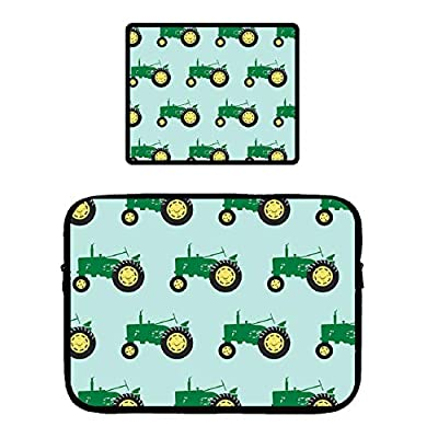 POP MKYTH Notebook Bag - Green Tractor - Water Repellent Lycra Sleeves Cover Compatible 13-15 Inch Laptop/MacBook Air/MacBook Pro/Surface Pro| with Non-Slip Base Mouse Pad