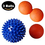 """THERAPY MASSAGE BALLS - 3 Ball Set: Small Smooth Ball (6cm / 2.5""""), Peanut Lacrosse Ball & Large Spiky Ball (9cm / 3.5""""). Perfect for Muscle Recovery - Deep Tissue Massage, Trigger Point Acupressure, Plantar Fasciitis, Myofascial Release, Feet, Neck & Back Massage"""