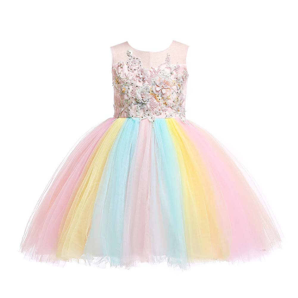 Weileenice Kids Costume Cosplay Dress Girl Rainbow Tulle Dress with 3D Embroidery Beading Baby Girls Princess Dress (5-6Years, Peach + Rainbow)