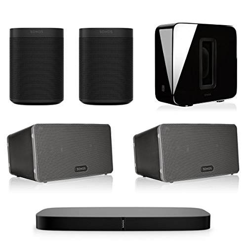 Sonos 5.1 Home Theater System with PLAYBASE, ONE (Pair), PLAY:3 (Pair), and SUB Wireless Subwoofer (Black) by Sonos