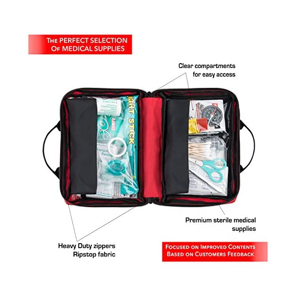 First Aid Kit 150 Piece For Car Travel Camping Home Office Sports Survival Complete Emergency Bag Fully Stocked With High Quality Medical Supplies
