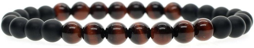 COAI® Pulsera Unisex de Piedra Semipreciosa Natural Ónice Mate Ojo de Tigre 6mm