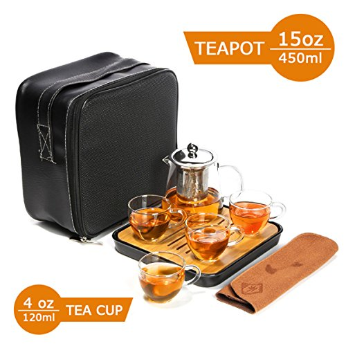 OMyTea Glass Travel Tea Set - Teapot with Infuser Stovetop S