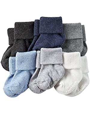 Carters Baby-Boys Newborn Heather Terry Ribbed Socks (Pack of 6) (12-24 Months, Solids Heather)