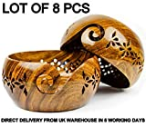 shaheera Nautical Lot of 8 Pcs Rosewood Crafted Wooden Yarn Storage Bowl with Carved Holes & Drills | Knitting Crochet Accessories (Small) A
